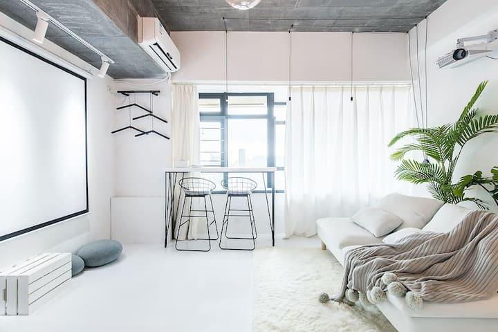 ·【简宿•简白】中山广场/高层海景/极简范儿轻奢度假公寓