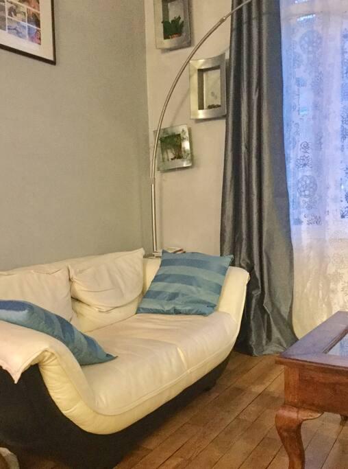 Salon et salle à manger de 40 m2. Pièce très lumineuse et agréable, plafonds haut typique de la région champenoise