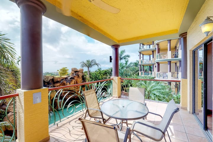 Family-friendly condo w/balcony, pool views, & two shared pools