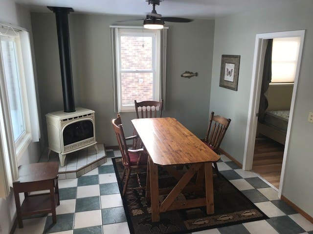 Huge dining area for all of your friends to gather and eat or just sit around and play cards or board games.   It's sure nice to sit at the table and look out onto Lake Tetonka at the sunrise or just watching your kids play by the lake.