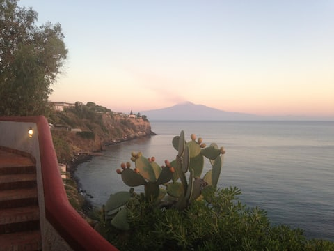 Sicily, on the beach with Etna stunning view