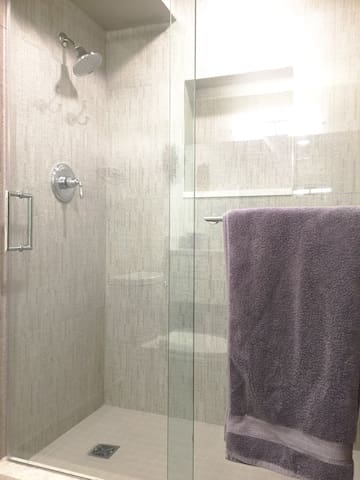 Spa like shower with foot perch