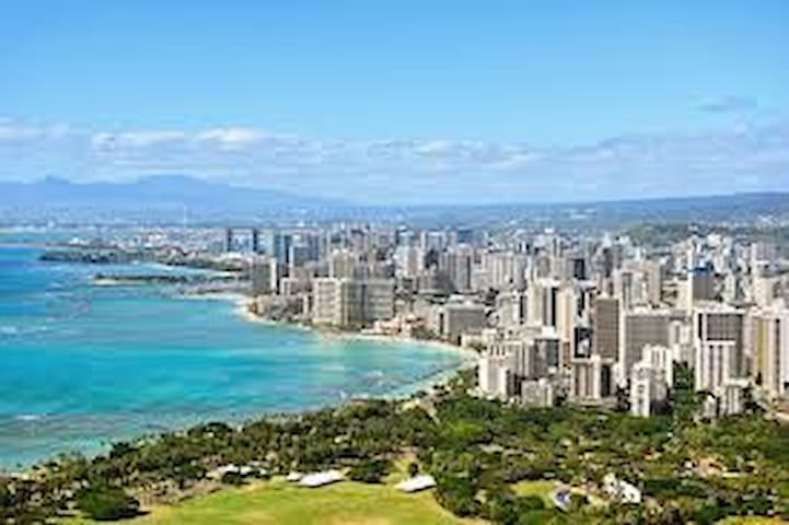 View of town and Waikiki from up top Diamond head