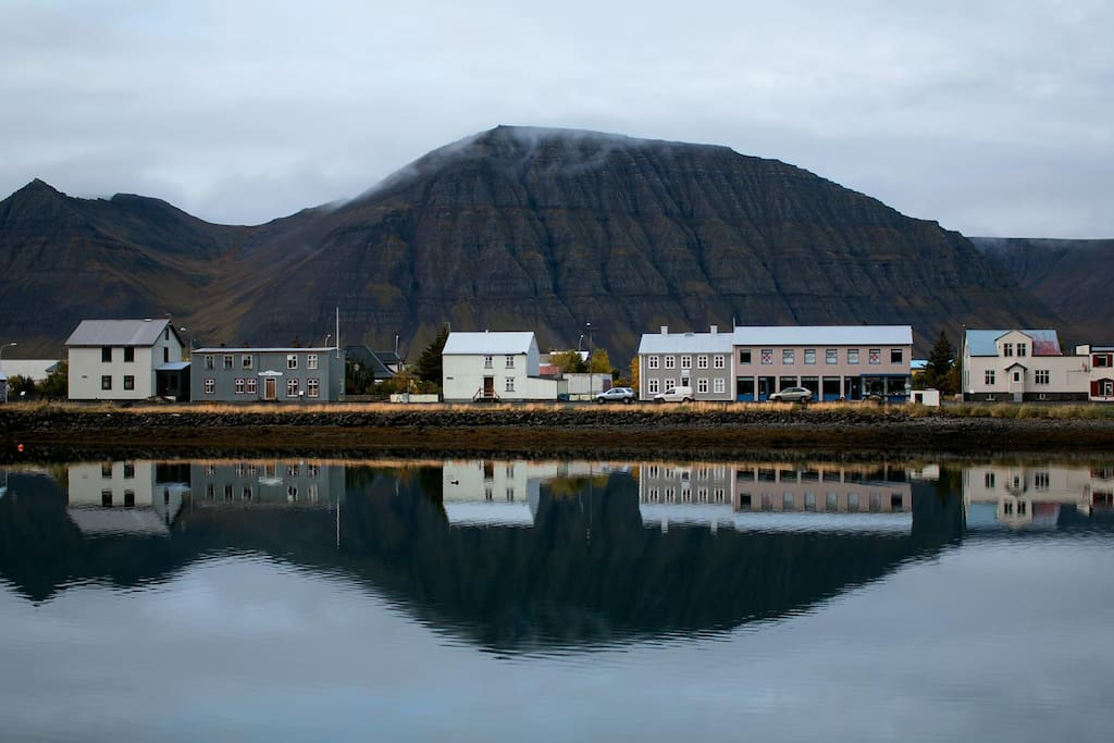 Hafnarstraeti, a view from the harbor. Our house is furthest to the left.