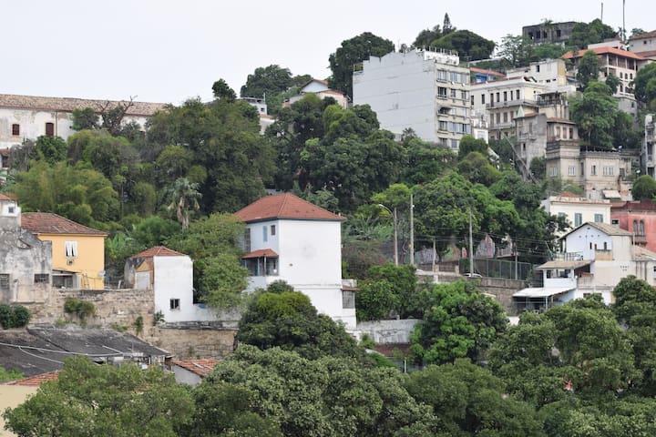 Da janela: à esquerda o telhado do convento de Santa Teresa e as árvores da Rua Silvio Romero