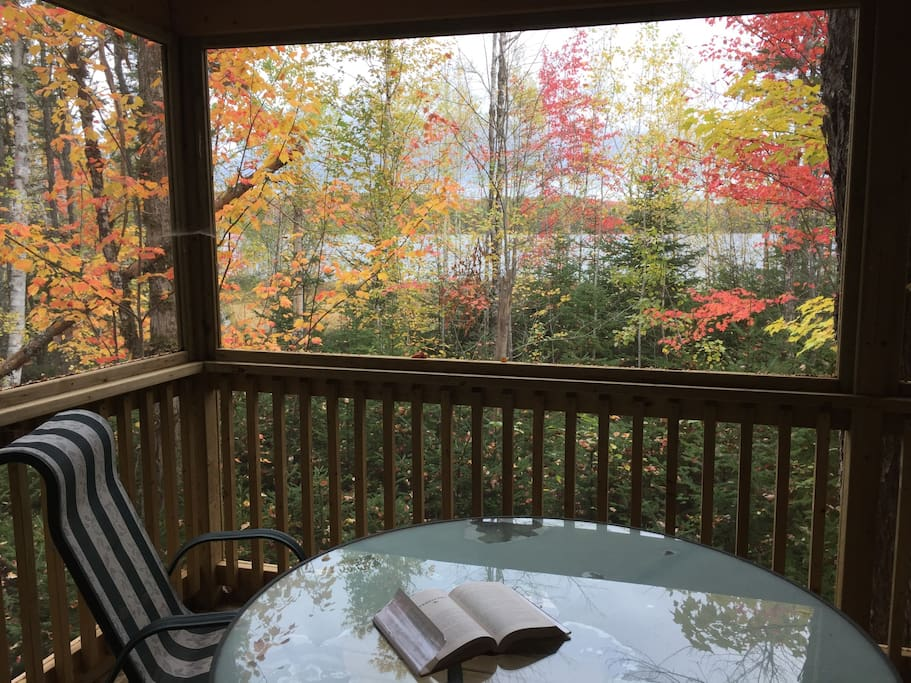 Huge lake view screened porch extends lounging/eating space into the forest for 4 seasons of comfort. Huge breaths required to savour that fresh clean air. Spectacular fall colours!!