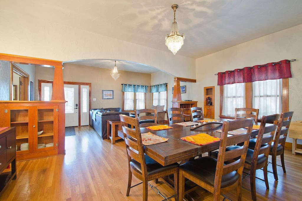 The dining table has two extensions the expand seating capacity to 12