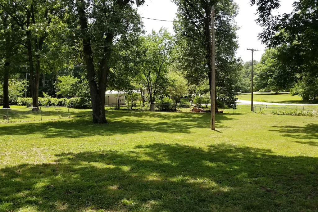 Large fenced back yard. Bring a volley ball net or a soccer ball and let the kids run!