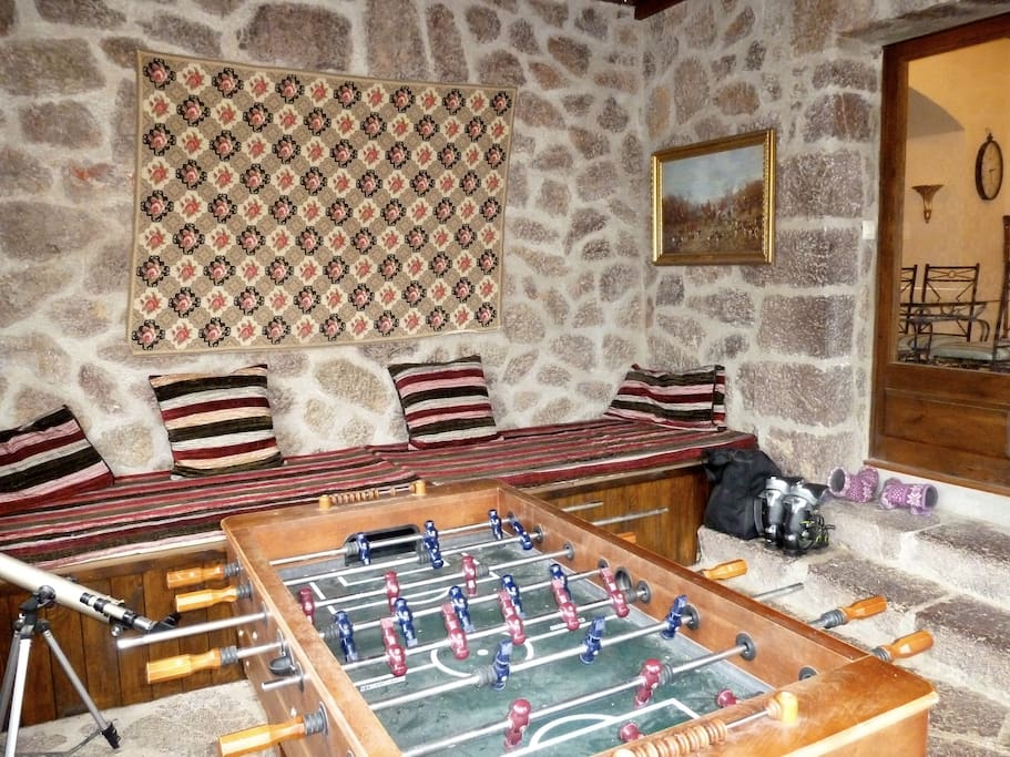 Stone room a room to leave ski wear warm and safe a room for dogs to sleep,Games room with table  football and darts board fully heated