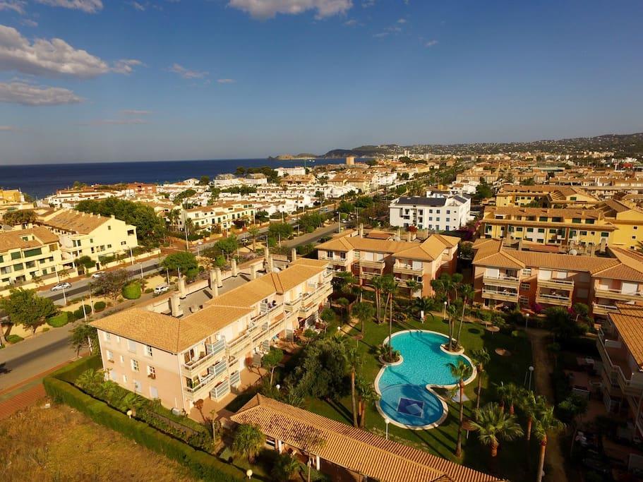 Aerial view of La Senia urbanization in Javea Port