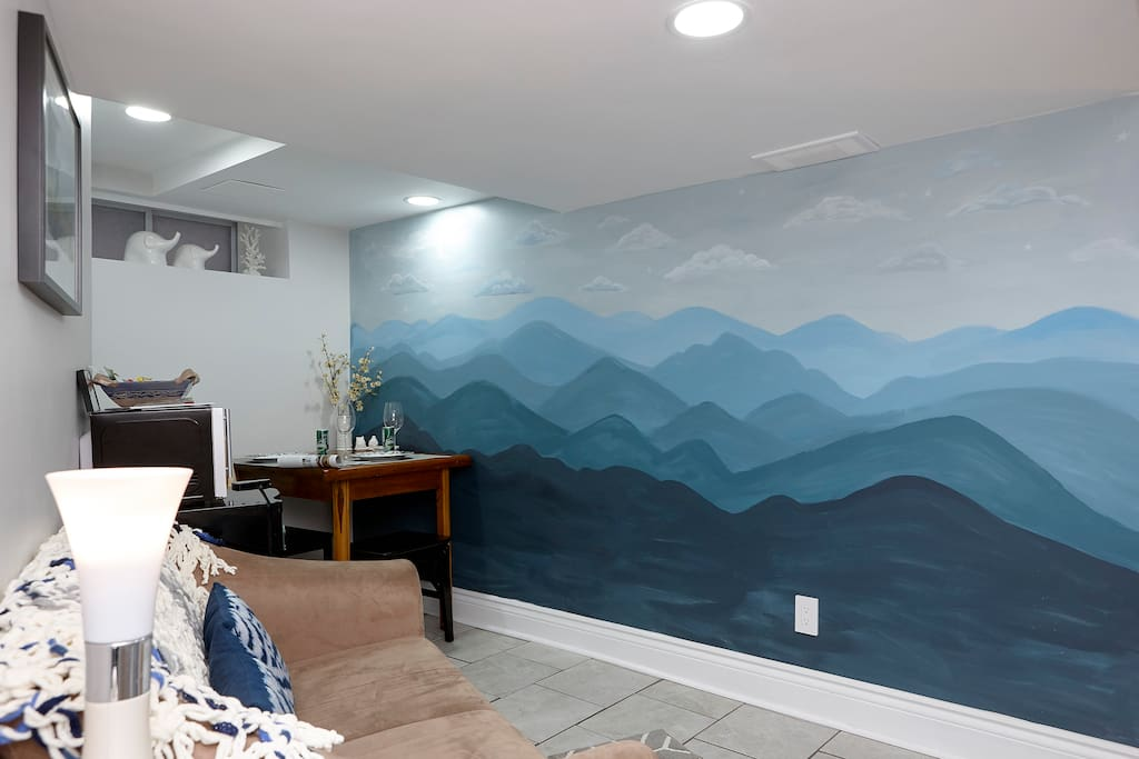 Mountains inspired by the Himalayas. This beautiful mural was painted by our friend Juliana. We feel it adds a special touch to make your stay magical!