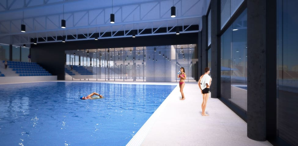 City pool just 2-3 minutes from apartment  will built till the next summer