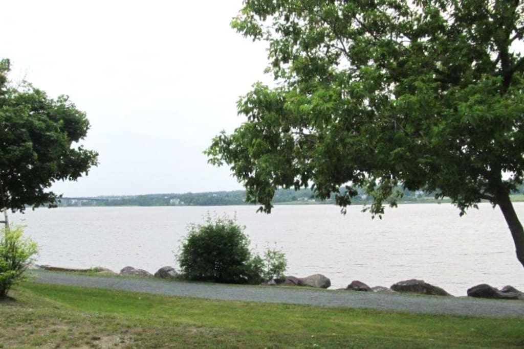 View of walking trail and Mighty Miramichi River