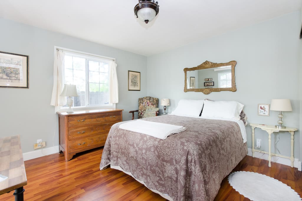 Tranquil bedroom with comfy memory foam topped bed.