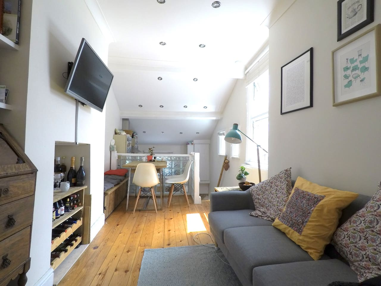 The living space is bright and airy