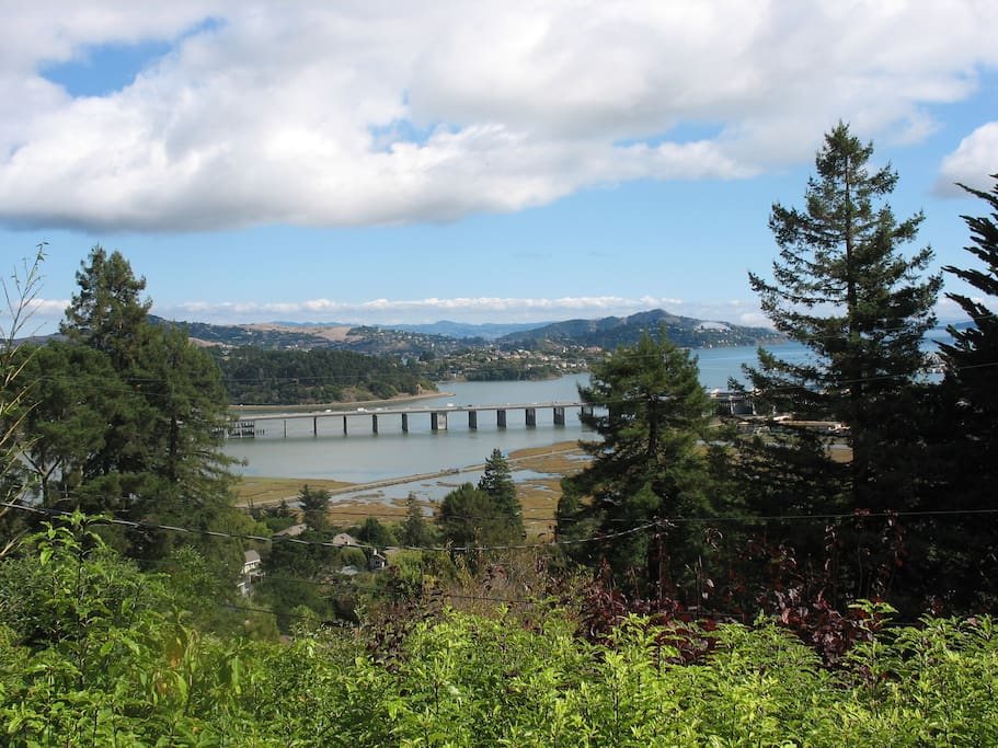 View includes Tiburon, Belvedere, Angel Island and even the Easy Bay.