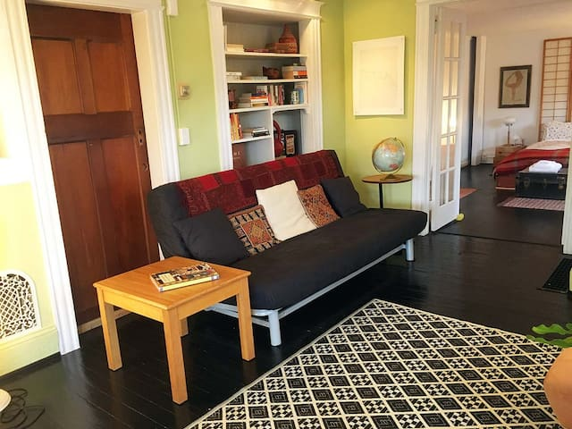 The apartment living room is spacious and comfortable. All rooms have individually controlled heaters to keep the space warm & cozy.
