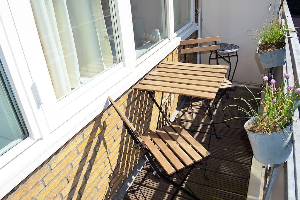 The balcony right in the sunny sun
