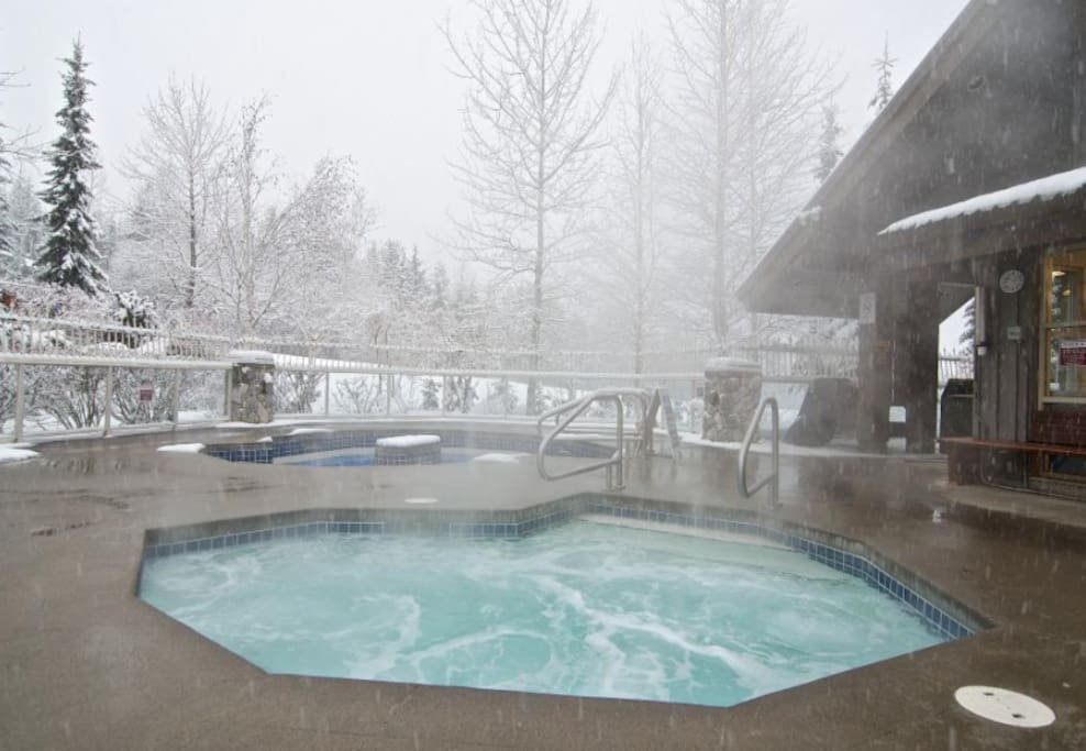 one of three hot tubs slope side