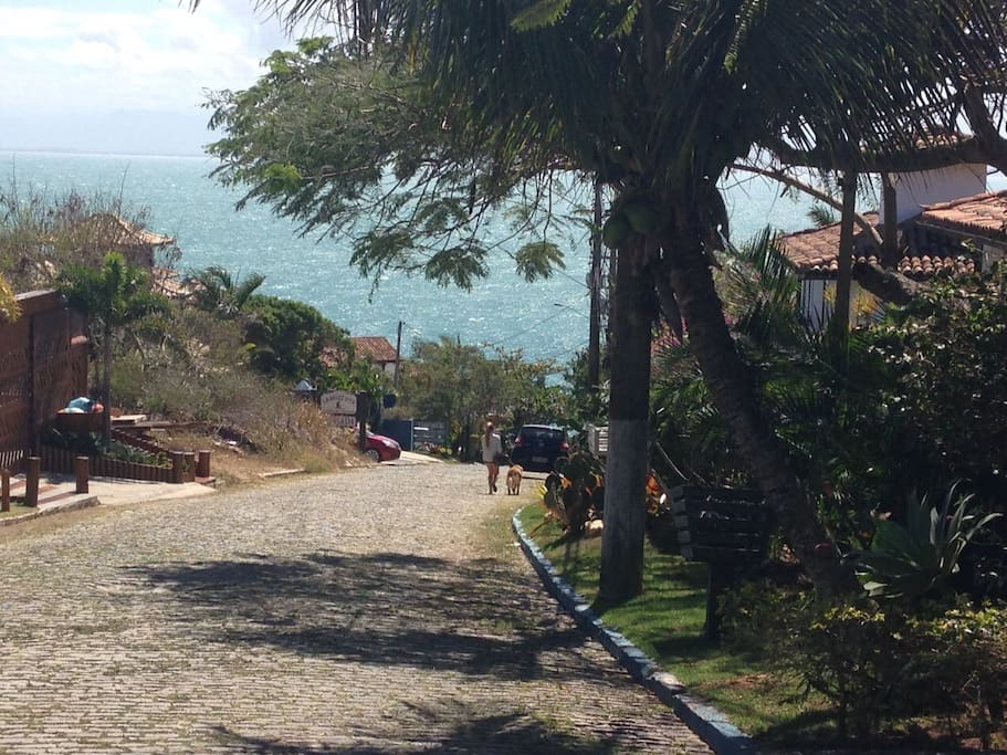 View from street in front of the house which is situated 200m from the Joao Fernandes beach.