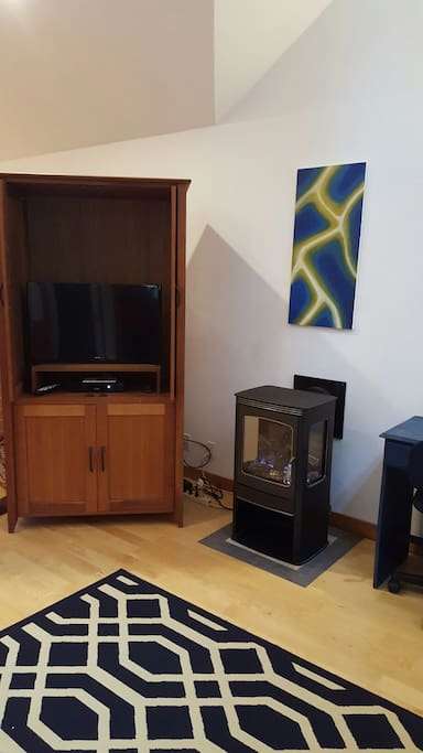 Toasty gas stove - TV has basic cable for your entertainment