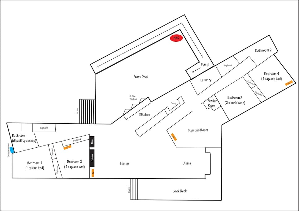Floor Plan (2 separate wings is ideal for 2 families)