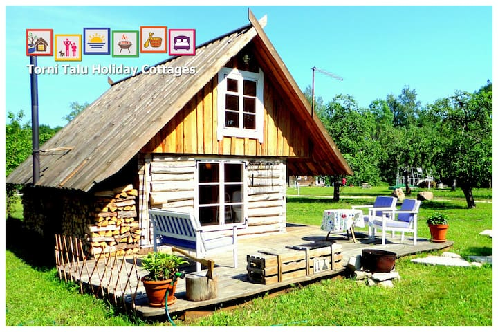 Romantic Cabin with bath and fireplace, Torni Talu - Pulli - Stuga