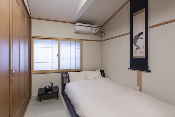 This is the Japanese room that you can use as bedroom on 2nd floor.  This tatami room is softer than wooden flooring.