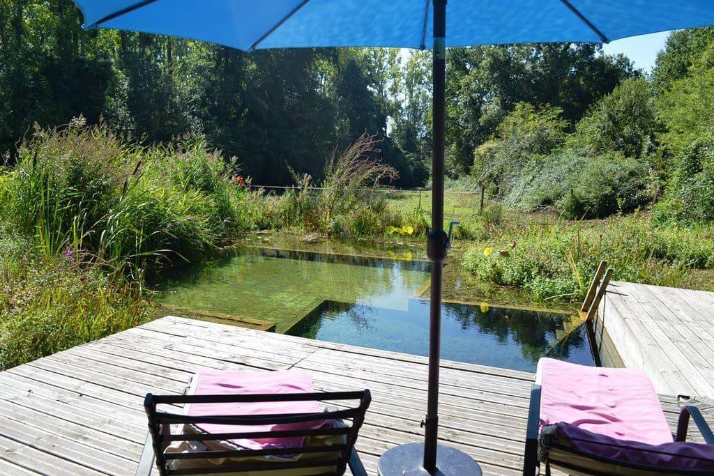 la piscine écologique nichée dans un écrin de verdure à 200m