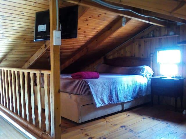 Chambre double en mezzanine. Terrain écologique
