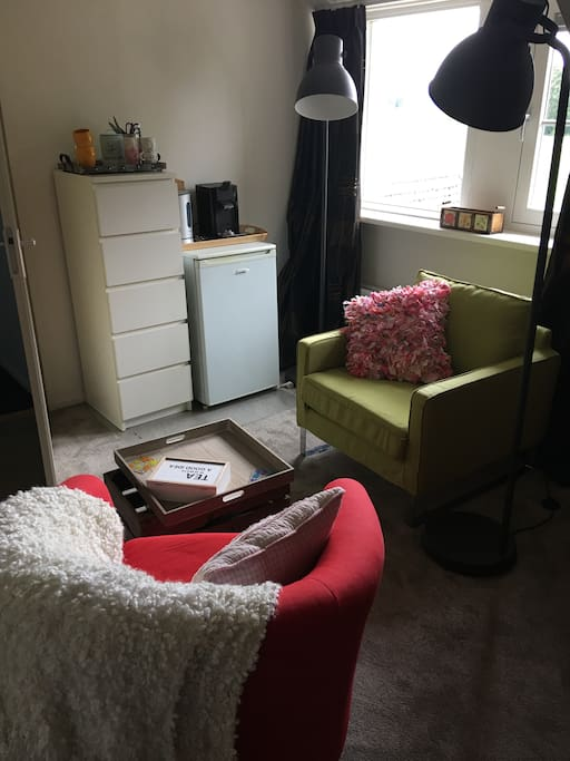 Two comfortable chairs with fridge, Senseo coffee machine, water boiler AND beautiful views.