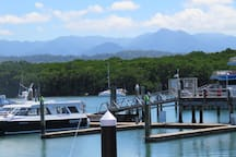 Port Douglas Marina. 25 minutes away. Where the GBR boats leave