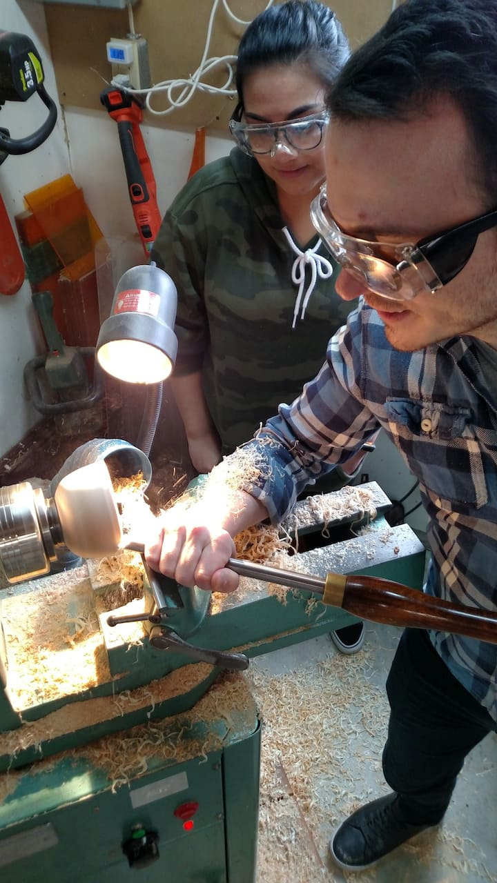 students shaping the inside of a bowl