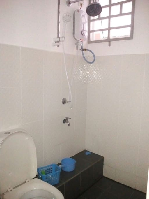 Water heater in the bathroom.