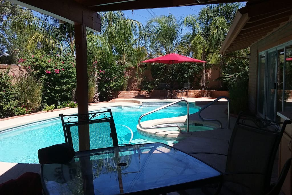 Backyard pool is available for your enjoyment, though the water is cold in the winter...
