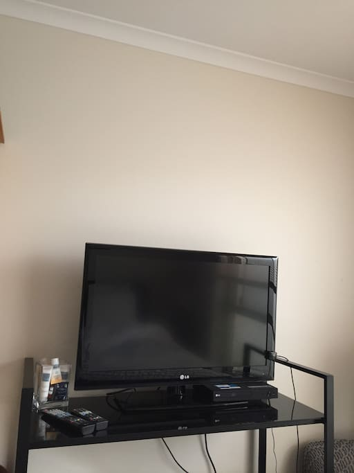 32 Inch TV, 3D Blu-Ray DVD Player with USB and Netflix in Guest Room