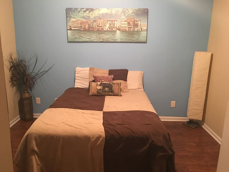 "Beautiful furnished guest bedroom with 55"" smart TV included"
