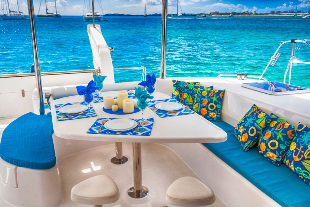 Cockpit - lunches and dinners are magnificent in the Caribbean
