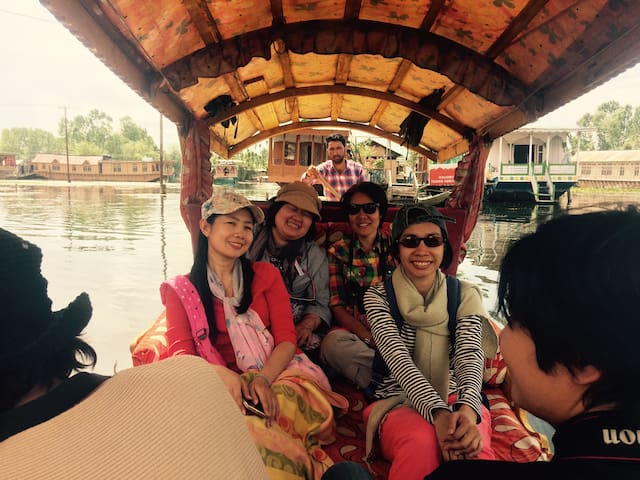 Houseboat on peaceful dal lake