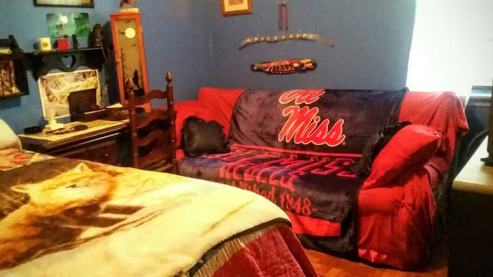 Twin bed/couch sleeps two.