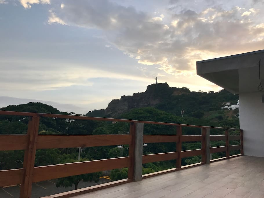 what a view to the Christ from the rooftop 50m2 terrace with pantry. You will spend your evening there! Bluetooth sound speaker included.