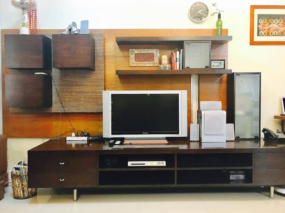 the entertainment unit, cable tv and high speed internet