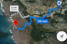 The blue dot represent the Inn. Hike the Fiscallini Ranch Trail system to the ocean.