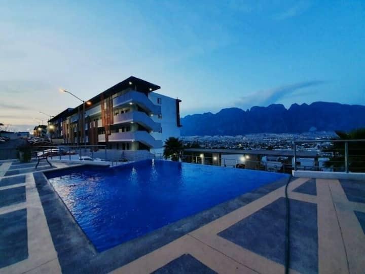 Huasteca Mty Cozy Room for 2 ,Alberca y Vistas 50%