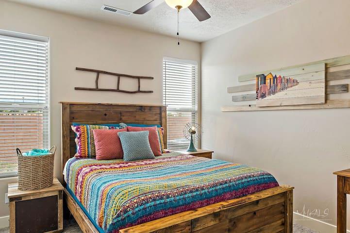 """Bedroom#4 In-Suite Queen with bath, 45"""" Samsung."""