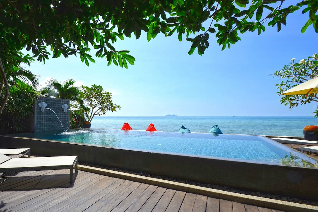 Where else can you get a sundeck with full-sized infinity-edge swimming pool on a beach that is so private you will feel it belongs just to you.