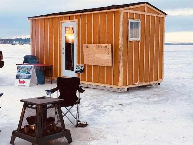 Ice fishing hut in style