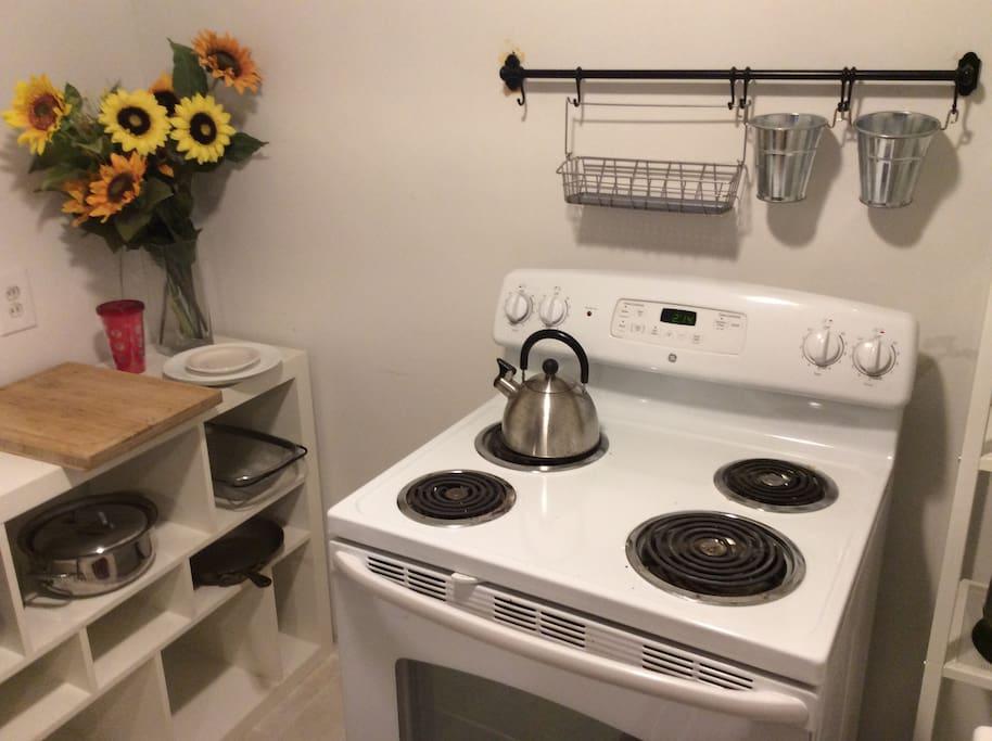 Enjoy the kitchenette in this comfortable studio apartment.