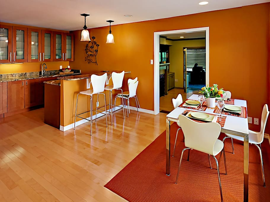 Dig into home-cooked goodness at 2 counter bar stools or around the dining table for 6
