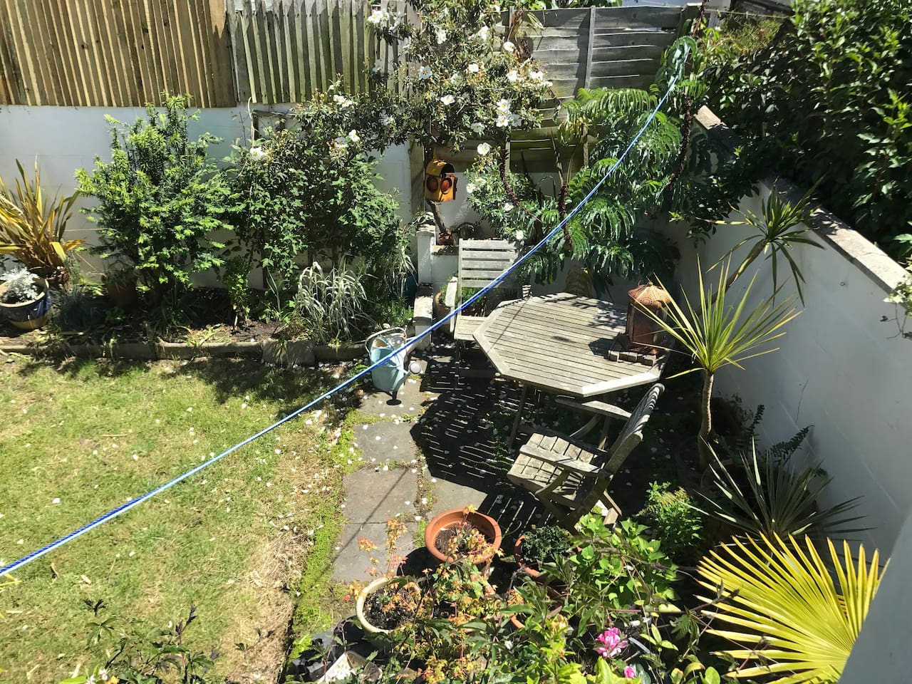 Back garden gets the morning sun - time for coffee and a relax
